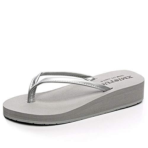 Womens Flip Flops Thongs Soft Foam Sole Casual Wedges Sandals Platform Slippers Summer Beach Shoes Grey