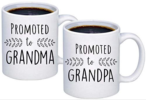 Pregnancy Announcement For Grandparents Coffee Mugs - Grandma To Be & Grandpa to Be 11 oz Mugs - Great Pregnancy Reveal Idea For Your Baby Announcement - Mug Set - Promoted to Grandma & Grandpa (2)