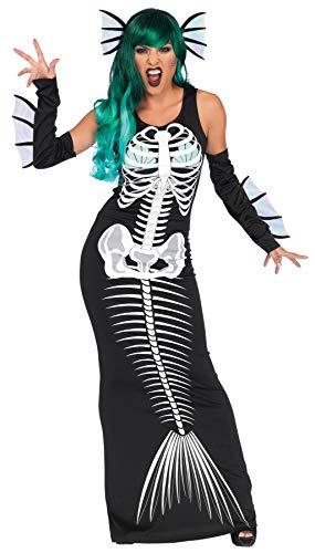 Leg Avenue Womens 3 Pc Skeleton Mermaid Costume, Black, Small/Medium