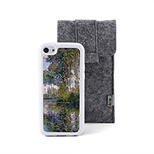 CaseCityLiu - Poplars at the Epte Claude Monet Oil Painting Design White Bumper Plastic+TPU Case Cover for Apple iPhone 5C Come With FREE Non Woven Packing Bag