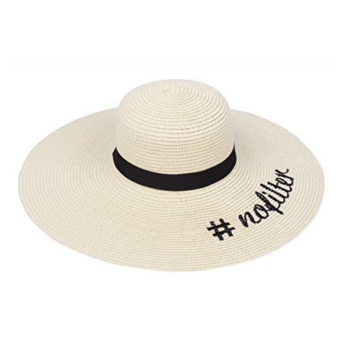 Embroidered #nofilter Sun Floppy Hat, Beige