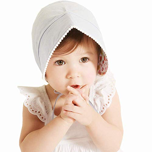 Baby Little Kids Toddlers Breathable Lacy Bonnet Eyelet Cotton Adjustable Sun Protection Hat (Light Blue)