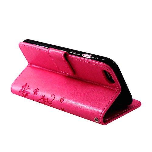 betterfon | Flower Cover Handytasche Schutz Hülle Blume Case Buch Klapptasche Handyhülle Handy Schale für Apple iPhone 7 Pink