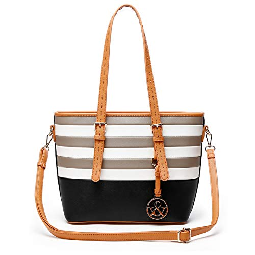 (HNA Classic Multi Color Striped Top Handle Tote Bag)