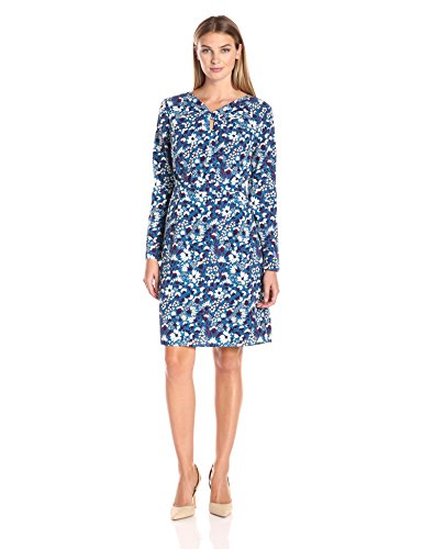Lark & Ro Women's Long Sleeve Knot Front Dress, Wildflower, Medium