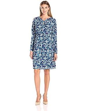 Women's Long-Sleeve Knot-Front A-Line Sheath Dress