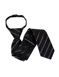 B-ZIP-11773 - Boys Designer Pattern Zipper Necktie - Black Purple