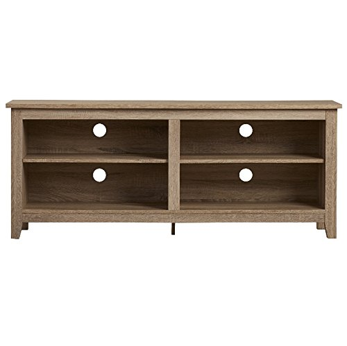 TV Consoles for Flat Screens 60 Inch Entertainment Center - Media Stand Furniture 4 Storage Shelves is Best for Flat Screen Televisions 46, 50, 55, 60 in Natural Wood Bundle w Anti-slip Accessory Pad