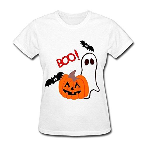 PASSIONC Women's Halloween Pumpkin Bat T-shirt M]()