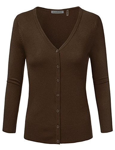 JJ Perfection Women's 3/4 Sleeve V-Neck Button Down Knit Cardigan Sweater BROWN 2XL
