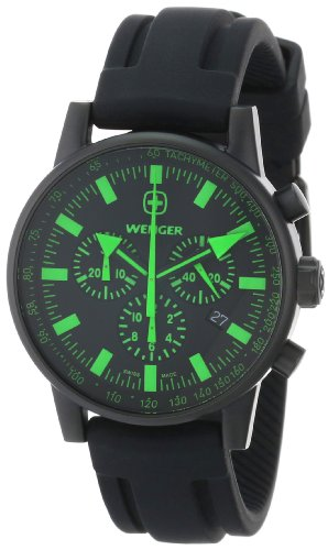 Wenger Men's 70891 Swiss Raid Commando Green-Accent Black Rubber Strap Watch
