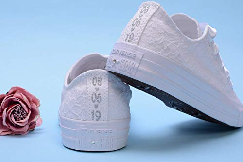 White Personalized Wedding Sneakers For Bride, Personalised Bridal Trainers, Monogrammed Bride Tennis Shoes -