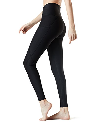 TSLA Yoga Pants Mid-Waist/High-Waist Tummy Control w Side/Hidden Pocket Series, Pocket Thick Contour(fyp54) - Black, Medium (Size 8-10_Hip39-41 Inch)