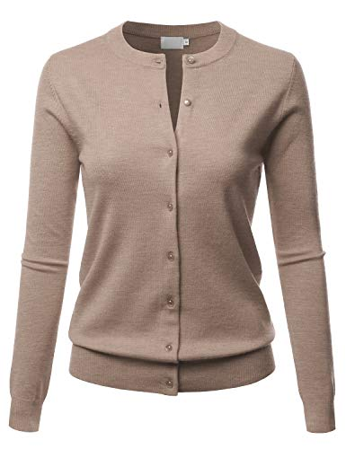 LALABEE Women's Crew Neck Gem Button Long Sleeve Soft Knit Cardigan Sweater Camel - Gem Camel