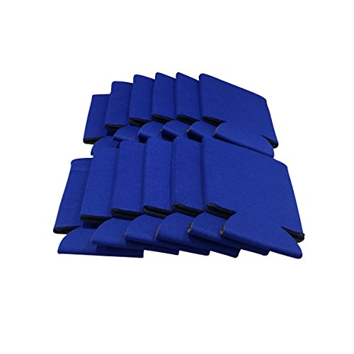 CSBD Blank Beer Can Coolers Premium Quality Soft Drink Coolies Collapsible Insulators Bulk, 12 Packs, 25 Packs, 50 Packs, Great For Monograms, DIY Projects, Weddings, Parties, Events (50, Blue)