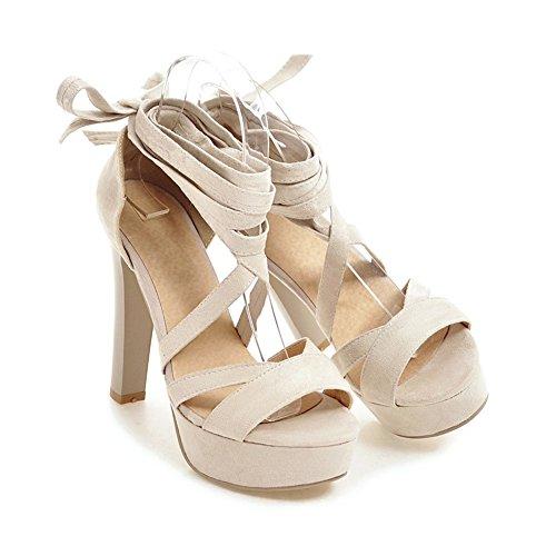 YE Damen High Heels Sandalen mit Schnürung Plateau Pumps Offen 12CM Absatz Sommer Abend Schuhe Beige