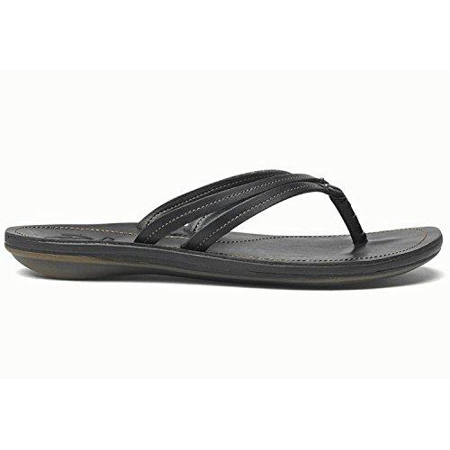 OLUKAI Women's U'I Thong Sandal,Black/Black,US 8 M