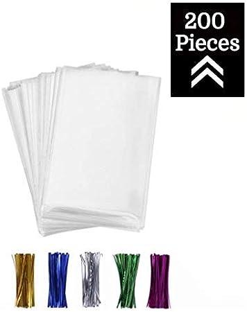 Amazon.com: 200 bolsas de celofán transparente planas de 3 x ...
