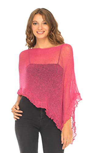 (SHU-SHI Womens Sheer Poncho Shrug Lightweight Knit with Ruffle One Size Fits Most Hot Pink)
