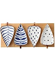Porcelain Leaf Shaped Snack Bowl or Appetizer Dish for Dips Sauces Dessert Salad Snack Candy Fruit Nuts Cheese Ceramic Platter Set of 4 with Grooved Wooden Serving Board