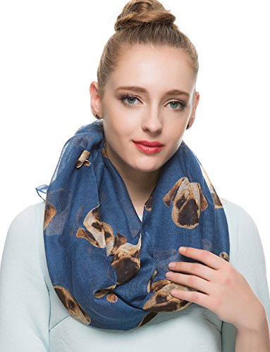 HUAN XUN Lovely Pug Dog Head Print Infin - Modern Scarf Shopping Results