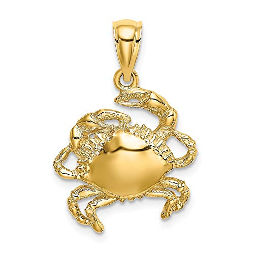 14k Yellow Gold 2-D Crab Charm