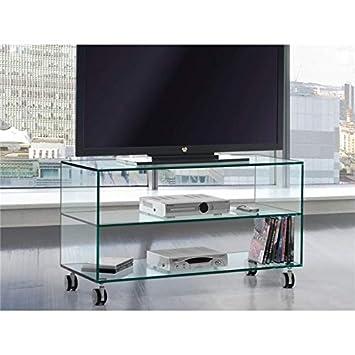 Meuble Tv En Verre à Roulettes Kolet 90 Cm Amazon Fr