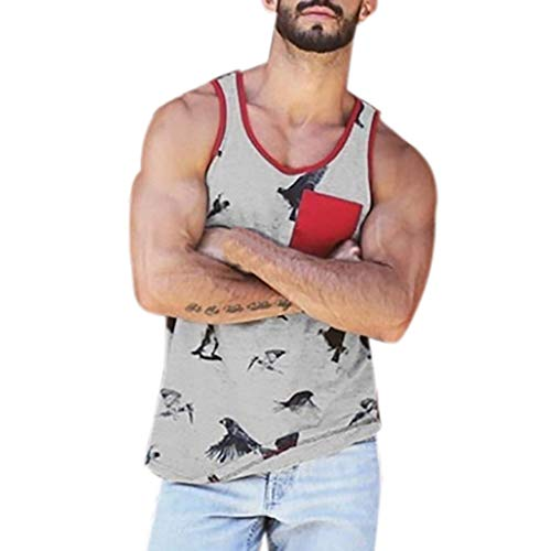 POQOQ Mens Workout Hooded Tank Tops Sleeveless Gym Cool and Muscle Cut L Gray ()