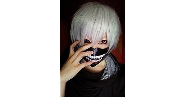 Amazon.com: Topbill Tokyo Ghoul Guru Kaneki Ken Mask+ Cosplay Wigs ...