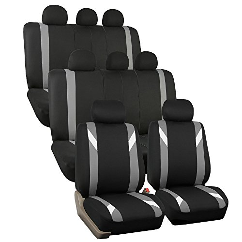 FH Group FH-FB033128 Three Row-Premium Modernistic Seat Covers Gray/Black- Fit Most Car, Truck, SUV, or Van