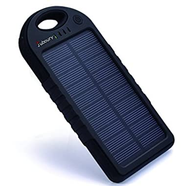 Solar Charger,Juboury 5000mAh Solar Power Bank Dual USB Port Portable Charger,3-proofing Design(Waterproof,Dust-Proof and Shock-Resistant)Solar Battery Charger for iPhone,iPad,Cell Phone,Camera(Black)