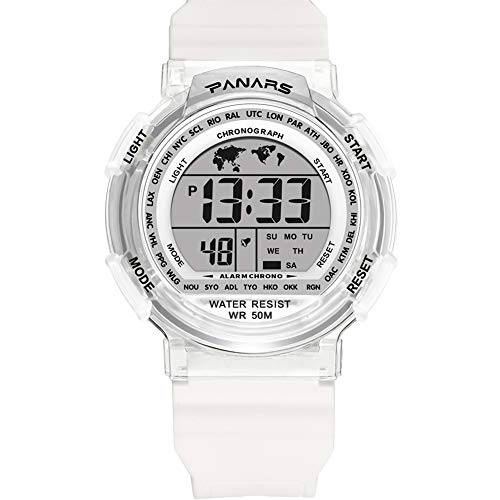 Sports Watch for Men,Multi-Functions Waterproof Digital Watch with 7 Colors Backlight (White)
