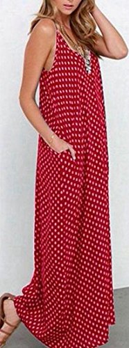 Summer Long Cromoncent Spaghetti Dots Neck Dress Printed Red Womens Loose V Swing Strap Sexy IzrPYz