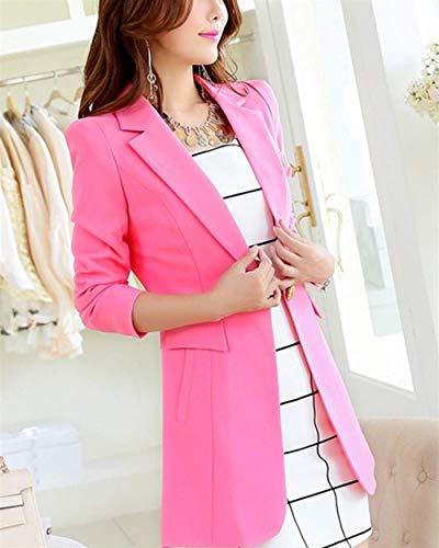 Autunno Di Lunga Donna Giubotto Solidi Pink Bavero Moda Colori Blazer Giacca Manica Casual Button Lungo qwaBC