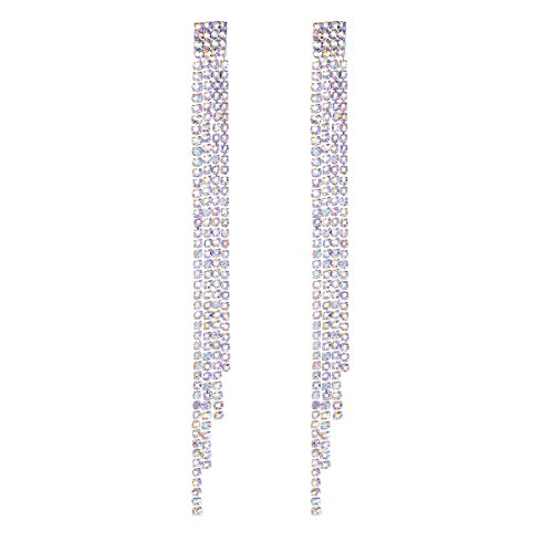 FOCALOOK Long Drop Rhinestone Luxury Earings 925 Sterling Silver Pin Tassel Jewelry for Women - 925 Sterling Silver Pin