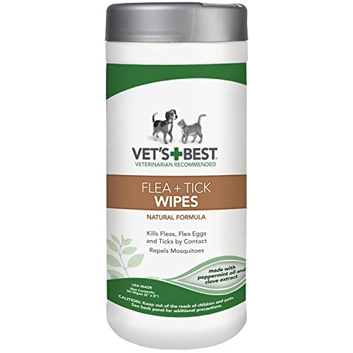 Vet's Best Flea and Tick Wipes for Dogs & Cats, 6×8 in, 50 Wipes 418rUzPkSSL