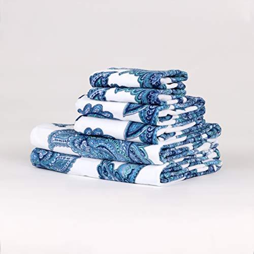 - Arkwright Soft 100% Cotton Velour (Velvet-Like Feel) Decorative Bath Towel Set |Thin, Fast Dry | 6 Piece Set Includes 2 Bath Towels, 2 Hand Towels & 2 Washcloths (Jacobean)