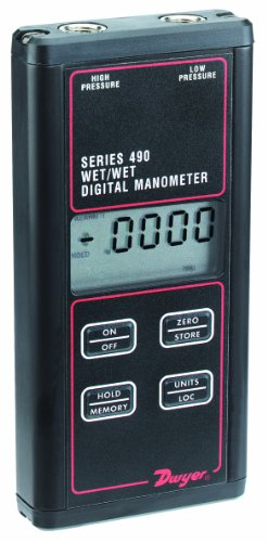 Dwyer Series 490 Wet/Wet Handheld Digital Manometer, 0-10...
