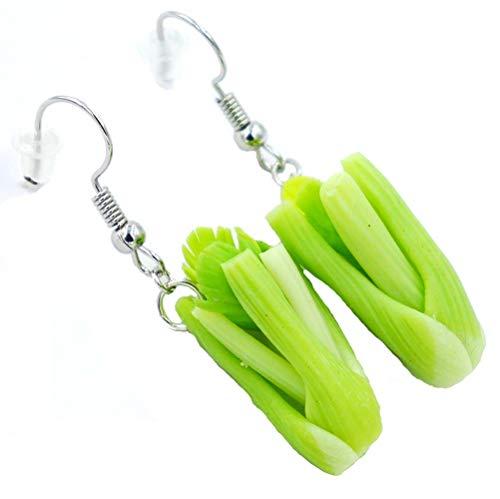 Polymer clay handmade celery earrings