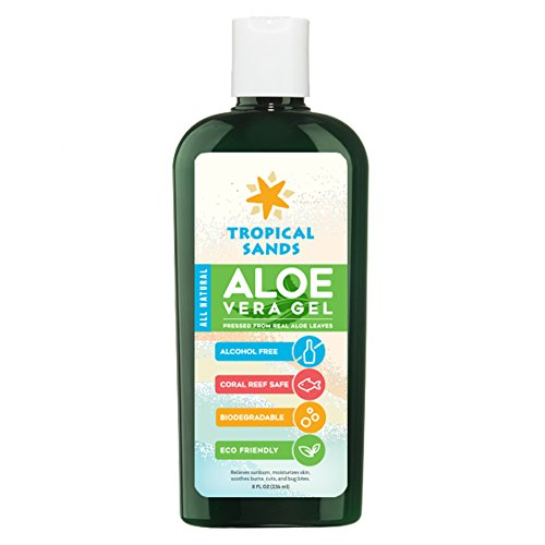 All Natural Biodegradable Sunscreen (All Natural Aloe Vera Gel by Tropical Sands, 100% Pure Aloe Vera Gel, Biodegradable, 8 fl Oz)
