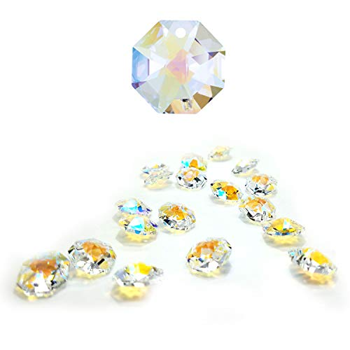CrystalPlace 12 Pcs Swarovski Crystal, 14mm Aurora Borealis, One Hole Strass Octagon Lily, Ideal for Jewelry Making, Chandelier Parts, Arts Crafts