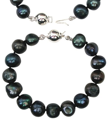 Bridesmaid Peacock/Black 9-10mm Baroque Cultured Pearl Bracelet with A Sterling Silver Clasp by Pearls Paradise (Image #5)
