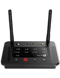 1mii B03   Transmisor Bluetooth de largo alcance con adaptador de audio Bluetooth y transmisor, aptX de baja latencia y sonido HiFi, audio óptico RCA AUX de 0.138 in para TV PC auriculares peaker