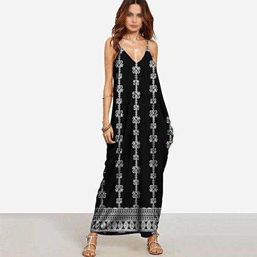 de estampada Sin moda verano Impreso larga Falda de Vestidos Robess Suelta Abby respaldo de poli tqwPn0