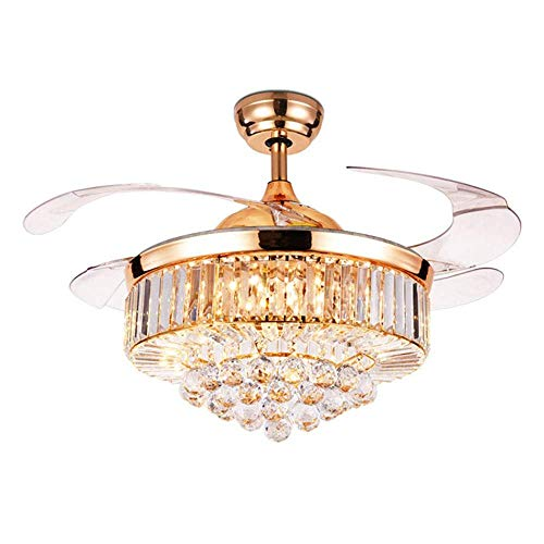 Crystal Ceiling Fan with Light Crystal Ceiling Light with Invisible Blade LED Light Kit Home Decor Bedroom Living Room Home Quiet Fan Light Rose Gold Chandelier (Highlights Gold Finish Chandeliers)