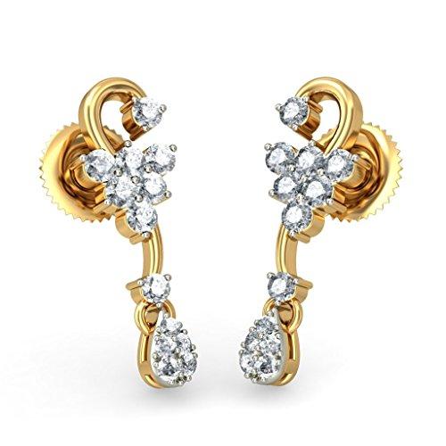 Or jaune 18K 0,37carat au total White-diamond (IJ | SI) Pendants d'oreilles