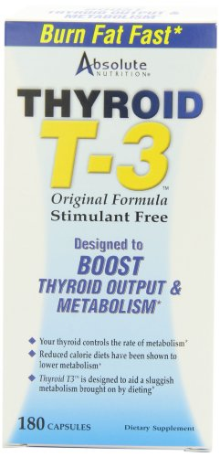 Absolute Nutrition Fat Burning Metabolism Boosting Supplement, Thyroid T-3, 180 Capsules