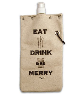 Tote & Able Eat Drink & Be Merry Design Water,Wine and Beverage Canvas Reusable Flask Bottle & Tote Carrier Holds 750ml/26oz