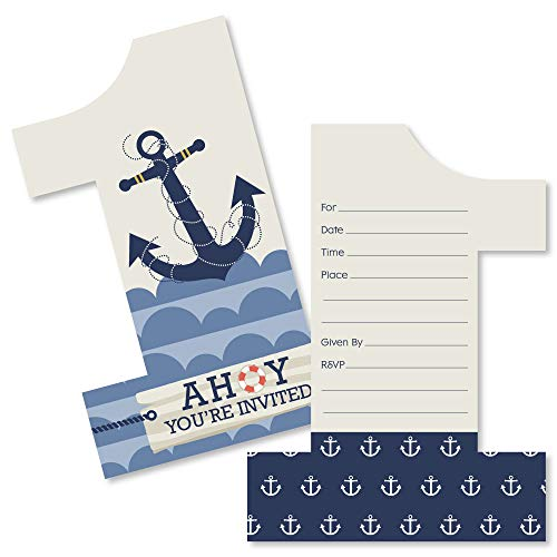 1st Birthday Ahoy - Nautical - Shaped Fill-in Invitations - First Birthday Party Invitation Cards with Envelopes - Set of 12