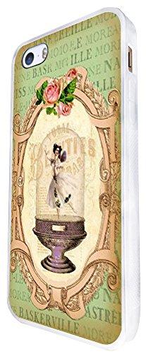 532 - Vintage Shabby Chic Victorian Floral Roses Vase Ballet Dancer Design iphone SE - 2016 Coque Fashion Trend Case Coque Protection Cover plastique et métal - Blanc